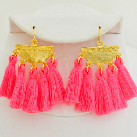 Half Moon Tassel Earrings - Hot Pink