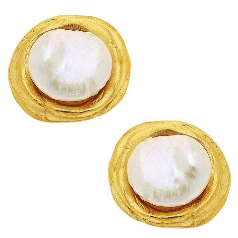 Coin Pearl Studs - Gold