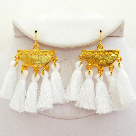 Half Moon Tassel Earrings - White