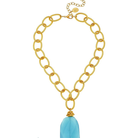 Stone Collar Necklace - Aqua