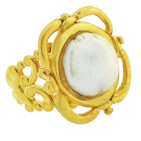 Coin Pearl Ring - Gold