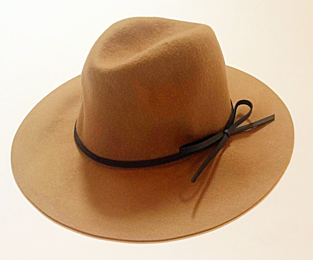 WOOL FEDORA W/ LEATHER RIBBON - TAUPE