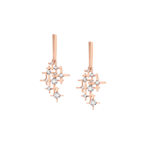 Earrings rose gold with diamonds Pyxis