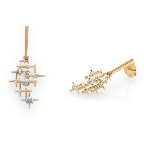 Earrings yellow gold with diamonds Pyxis, Mater Jewellery Tales