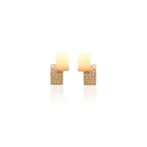 Slice Earrings Gold Plated Silver with stones by Romeu Bettencourt at by-PT online store