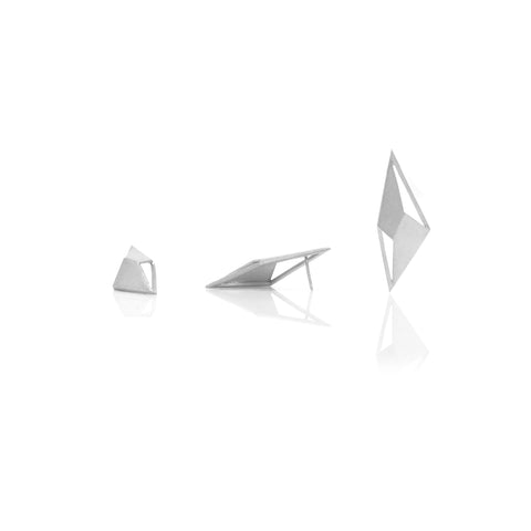 Lozenge earrings silver designed by Romeu Bettencourt
