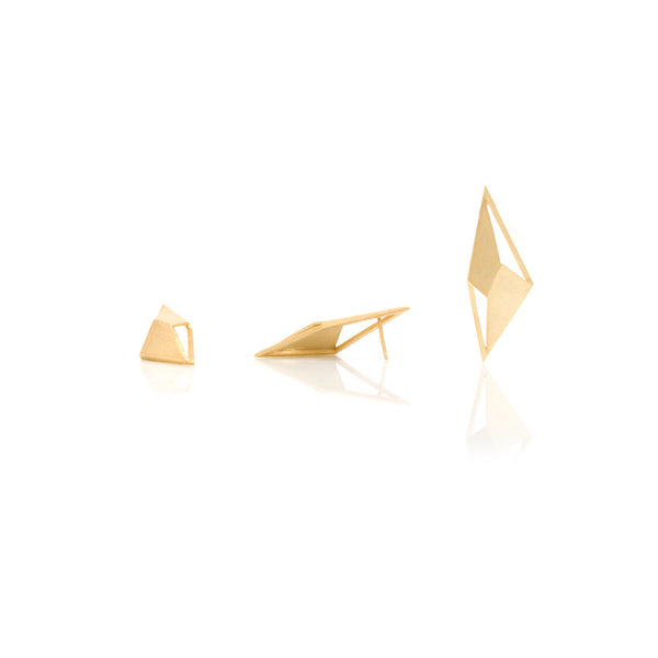 Lozenge earrings gold plated silver designed by Romeu Bettencourt