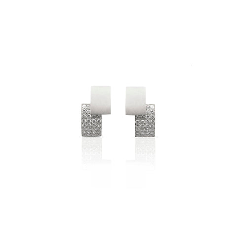 Slice Earrings Silver with stones by Romeu Bettencourt at by-PT online store