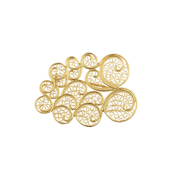 Clouds Brooch Gold Plated Silver by Susana Teixeira Jewelry at by PT online store Portuguese jewelry handmade small size