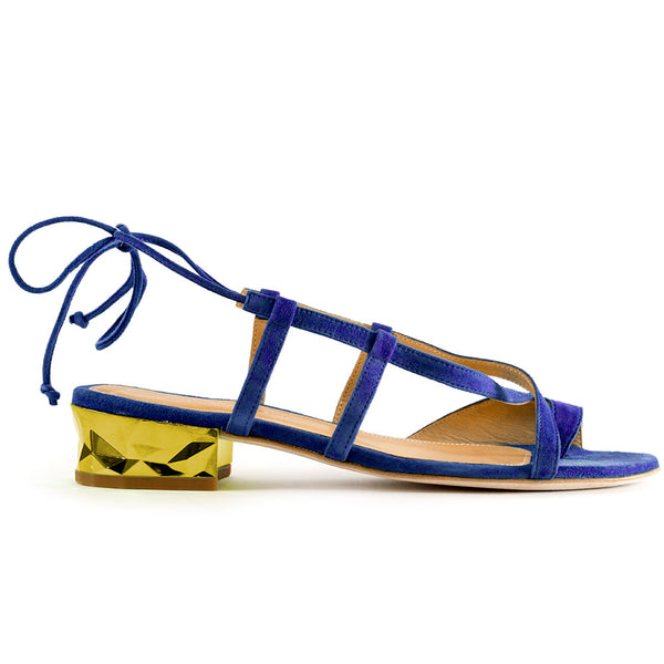 Shop online Diamond Flat Sandal  Electric Blue Quartz by GUAVA at by-PT.com