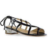 Diamond Flat Sandal Metallic Black Quartz by GUAVA at by-PT.com
