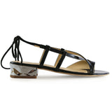 Shop online Diamond Flat Sandal Metallic Black Quartz by GUAVA at by-PT.com
