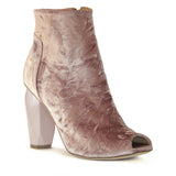 Shop online Diamond Peep Toe Boot Blush Velvet by GUAVA at by-PT.com