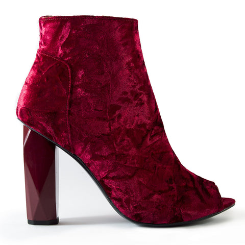 Shop online Diamond Peep Toe Boot Ruby Velvet by GUAVA at by-PT.com