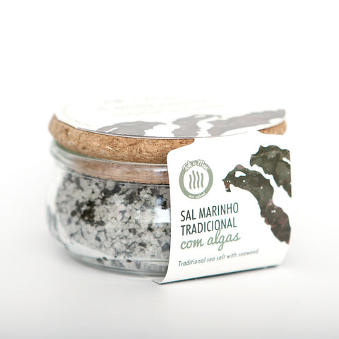 Sal Marinho com algas erva-patinha. Traditional sea salt with seaweed flakes Laver Tok de Mar by AlgaPlus at by-PT.com