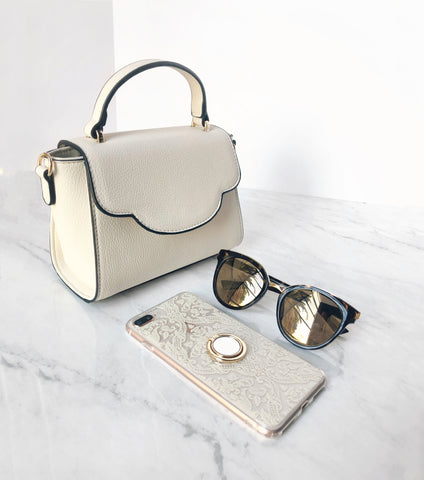 Cream it bag and matching phone case and tort sunnies