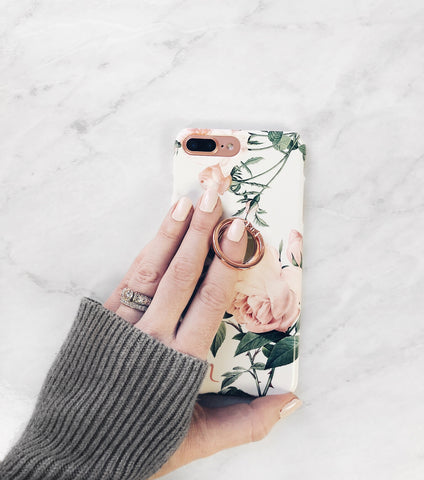 pretty phone case with floral rose pattern in pink, green and white