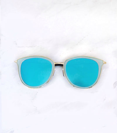 blue and gold mirrored sunglasses