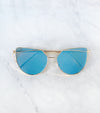 Cat eye blue mirror sunglasses