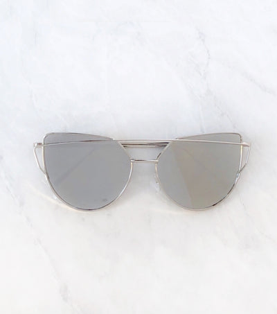 Silver women's sunglasses with mirrored lenses