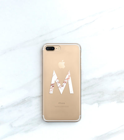 Monogram in Marble on a Clear iPhone Case
