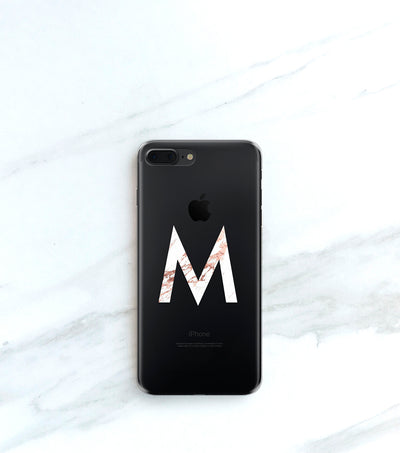 Clear case for iPhone with Marble Initial