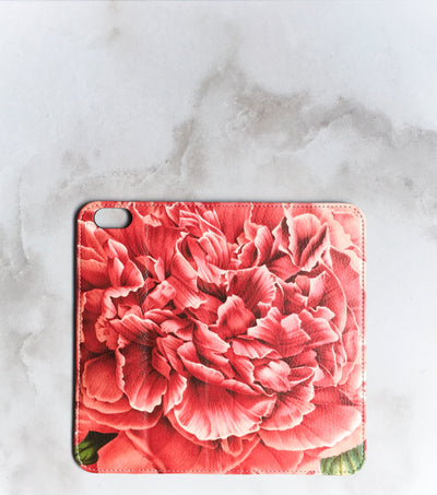 Peony Blossom Wallet case for iPhone full view