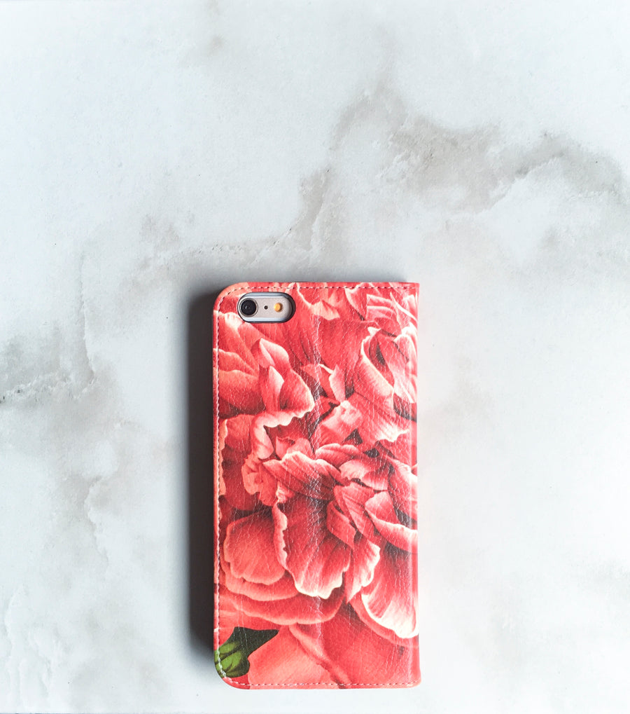Peony Blossom Wallet case for iPhone with strap