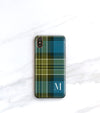 blue plaid iPhone xs max case with initial