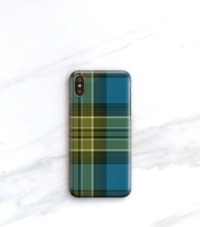 blue green plaid iPhone xs case