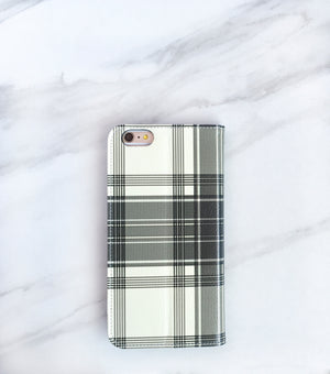 Winter White Plaid Wallet case for iPhone with strap