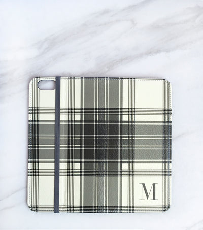 Winter White Plaid Wallet case for iPhone full view