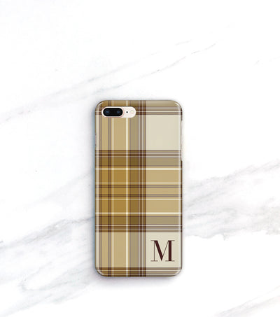 Personalized Tan Plaid Case for iPhone 8 Plus