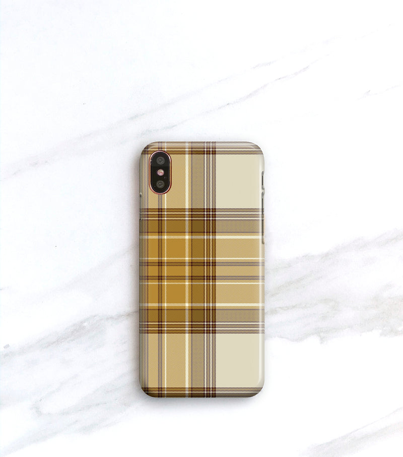 Tan Plaid case for iPhone X or iPhone 8 Plus