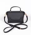black designer bag with top strap and crossbody
