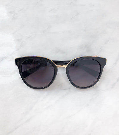 black cat eye sunglasses with gold trim