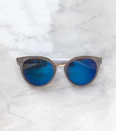 blue and white cat eye sunglasses