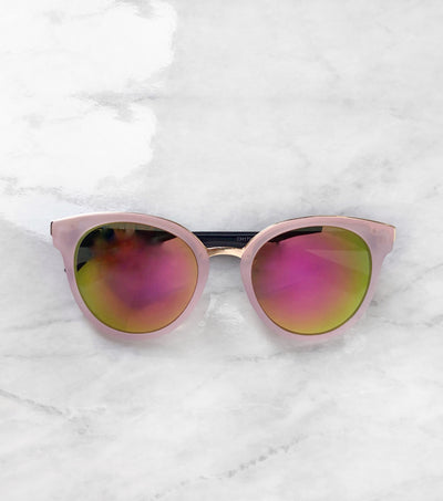 pink cat eye sunnies with tropical lenses