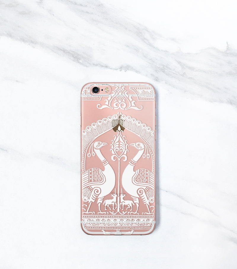Exotic Clear case for iPhone with peacocks unicorns
