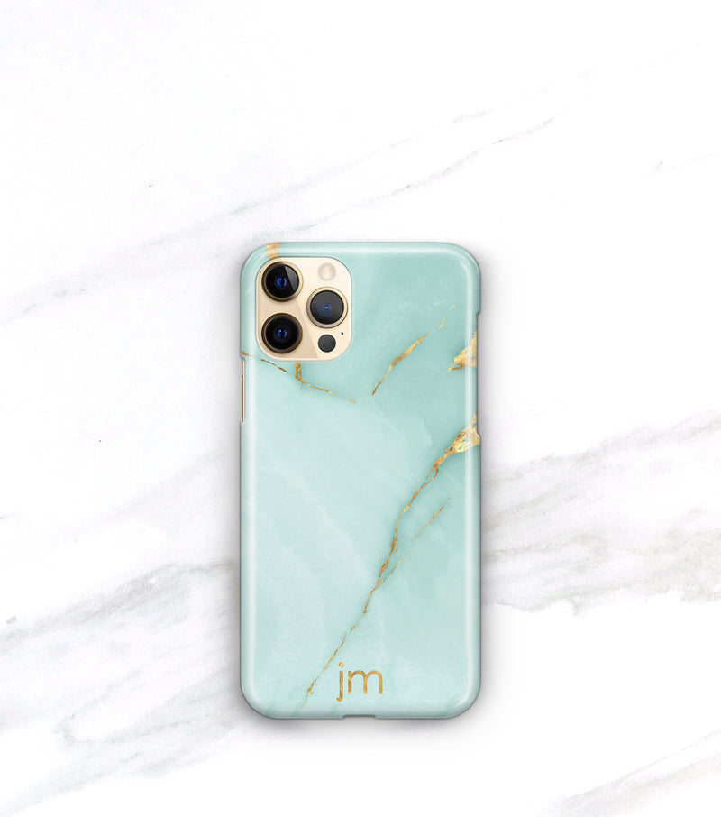 aqua teal and gold marble iphone 12 pro case