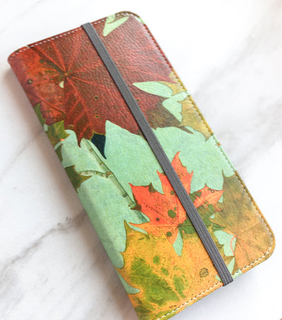 Autumn Leaves Wallet in red, golden yellow, and green