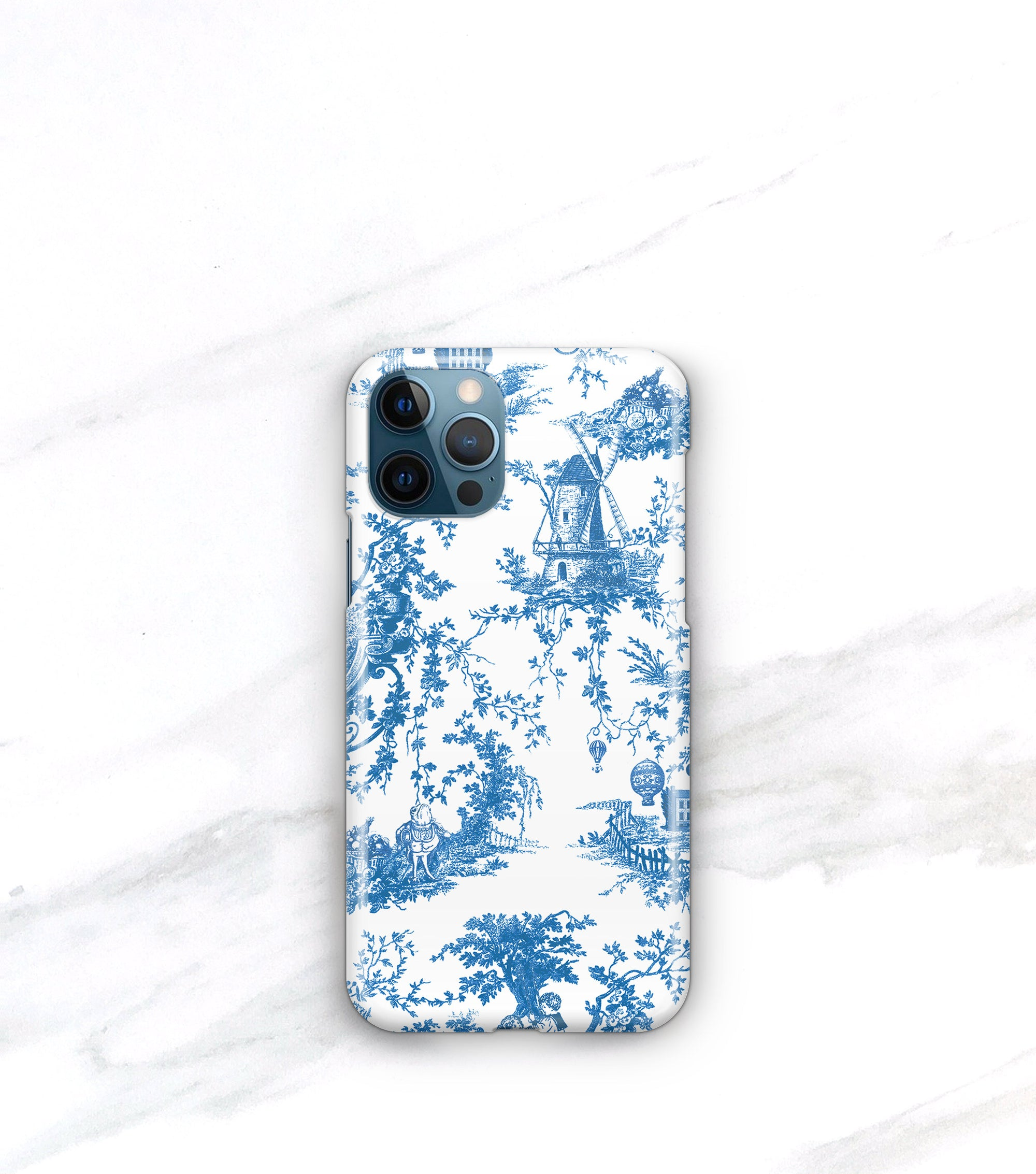 blue toile iphone 12 pro case