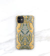 Boho iPhone 11 case in mustard and grays