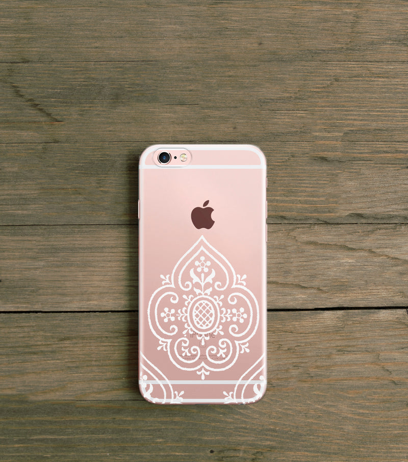White Boho Clear iPhone case