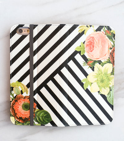 Bouquet Stripes Wallet case full view