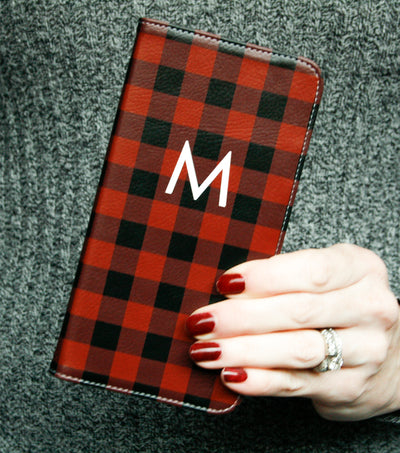 Buffalo Plaid Wallet case for iPhone black red white monogram