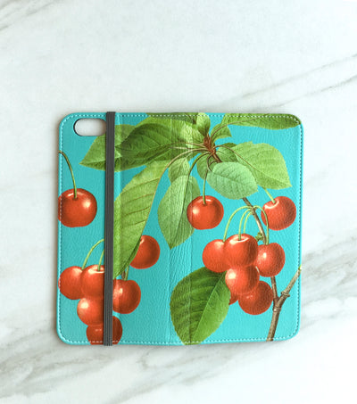 Cherry red and blue wallet full view