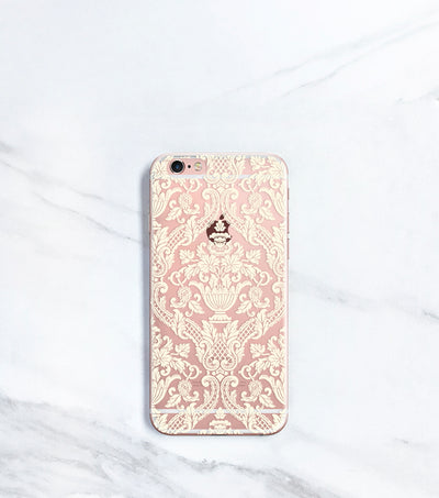 Damask Clear case over rose gold iPhone