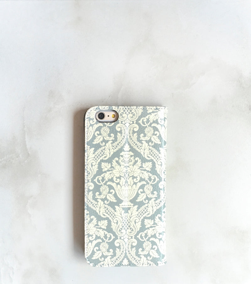 Gray Damask Wallet Case