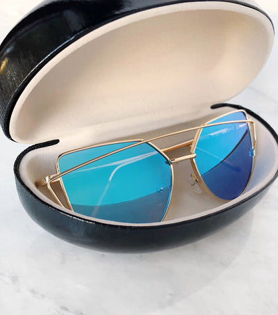 Cat eye sunglasses in a hard case